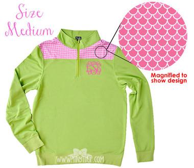 Monogrammed Green Pink Scales Pullover Medium www.tinytulip.com