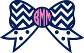 Monogrammed Chevron Bow Vinyl Sticker www.tinytulip.com Navy Bow with Pink Circle Font