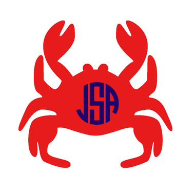 Monogrammed Crab Vinyl Sticker www.tinytulip.com Red Crab with Navy Circle Font