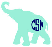 Monogrammed Elephant Vinyl Sticker www.tinytulip.com Mint Elephant with Navy Circle Font