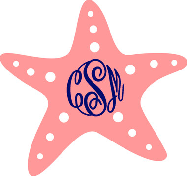 Monogrammed Starfish Vinyl Sticker www.tinytulip.com Coral Starfish with Navy Master Script Font