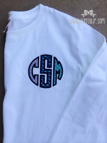 Vineyard Vines Circle Monogram Tshirt www.tinytulip.com Multi Fabric Whales Navy Thread