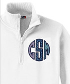 Monogrammed Vineyard Vines Quarter Zip Pullover www.tinytulip.com Multi Fabric Whales Navy Thread