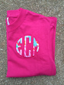 Lilly Pulitzer Circle Monogram Tshirt   www.tinytulip.com Jellies Be Jammin' with Hot Pink Thread on a Hot Pink Shirt