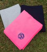 Monogrammed Stadium Sweatshirt Blanket www.tinytulip.com Bright Pink with Navy Master Script Font