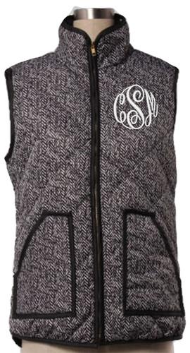 Monogrammed Quilted Herringbone Vest  www.tinytulip.com White Master Script Font