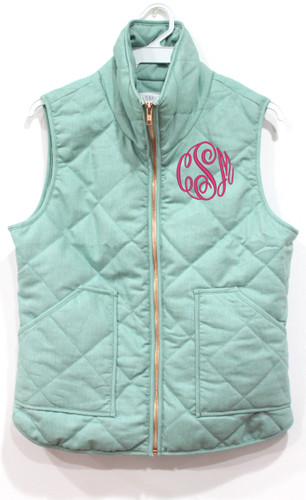 Monogrammed Quilted Seafoam Green Vest  www.tinytulip.com Hot Pink Thread Master Script Font