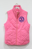 Monogrammed Quilted Seafoam Green Vest  www.tinytulip.com Navy Thread Master Script Font