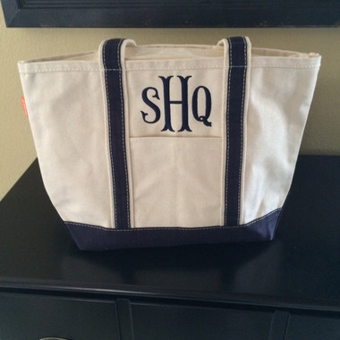 Monogrammed Canvas Navy Medium Boat Tote www.tinytulip.com Navy with Fishtail Font