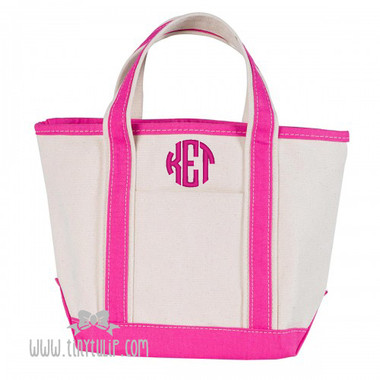 Monogrammed Canvas Pink Small Boat Tote www.tinytulip.com Hot Pink Circle Font