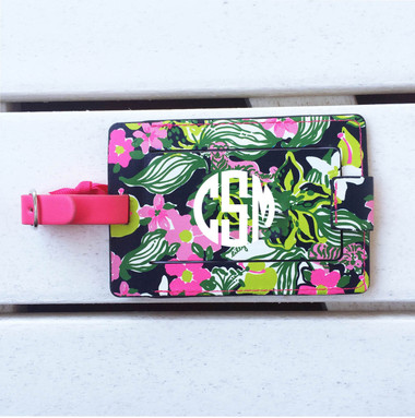 Lilly Pulitzer Tiger Lilly Luggage Tag www.tinytulip.com White with Circle Font
