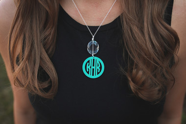 Drop Pendant Acrylic Monogram Necklace www.tinytulip.com
