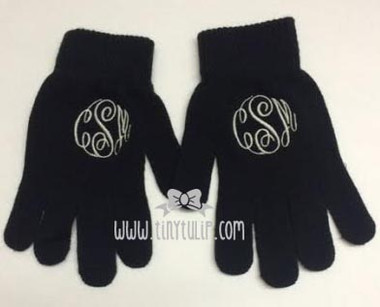 Monogrammed Black Gloves www.tinytulip.com