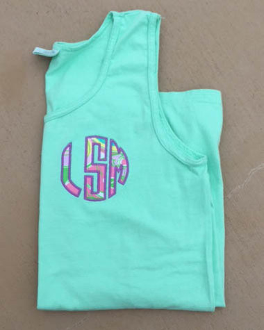 Lilly Pulitzer Monogrammed Bro Tank  www.tinytulip.com Mint Tank with Chin Chin Fabric and Purple Thread