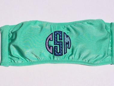 Vineyard Vines Monogrammed Bandeau Bathing Suit Mint with Navy thread