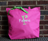Hot Pink Bag with Lime Green & White Curly Font