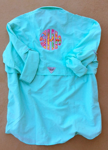 Lilly Pulitzer Monogrammed PFG Fishing Shirt www.tinytulip.com Aqua PFG with Fishing for Compliments Fabric and Preppy Pink Thread