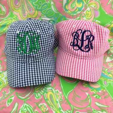 Monogrammed Hot Pink Gingham Hat www.tinytulip.com