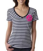 Monogrammed Navy Stripe V-Neck Tee www.tinytulip.com Hot Pink Master Script Font