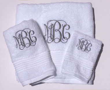 Monogrammed Towel Set   www.tinytulip.com Interlocking Charcoal Gray Font