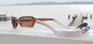 Monogrammed Pink Seersucker Sunglass Strap www.tinytulip.com