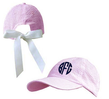 Monogrammed Pink Seerucker Hat with Grosgrain Bow www.tinytulip.com Navy Circle Font