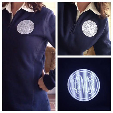 Monogrammed Seersucker Applique Quarter Zip www.tinytulip.com Navy Seersucker with White Interlocking Font