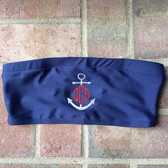 Monogrammed Anchor Tube Bandeau Bathing Suit Top www.tinytulip.com White Anchor with Red Circle Font