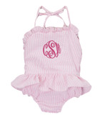 Monogrammed Pink Girls Seersucker One Piece Swim Bathing Suit www.tinytulip.com Hot Pink Master Script