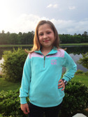 Monogrammed Youth Mint Pullover with Seersucker Elbow Patches www.tinytulip.com