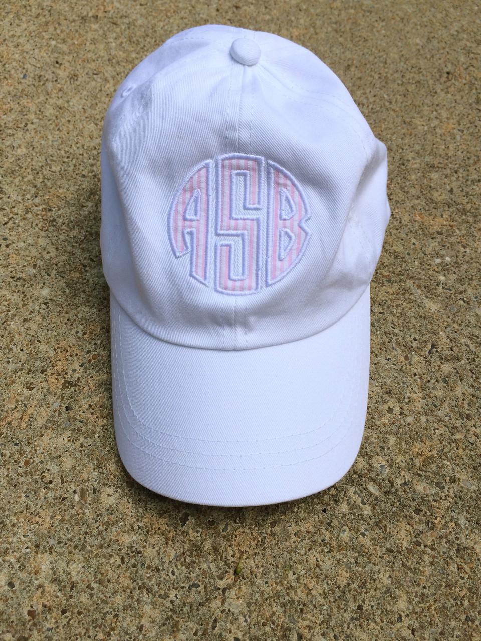 9c8a7993d69 Hover over image to zoom. Monogrammed Seersucker Applique Baseball Hat ...