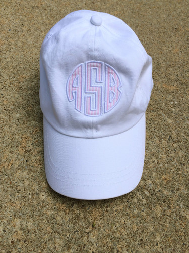 Monogrammed Seersucker Applique Baseball Hat www.tinytulip.com White Hat with Pink Seersucker and White Thread