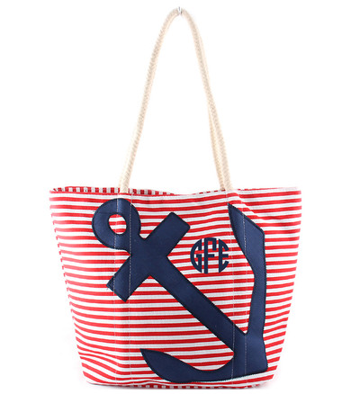 Monogrammed Red White and Blue Anchor Tote www.tinytulip.com Navy Circle Font