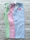 Monogrammed Youth Seersucker Lounge Pajama Pants www.tinytulip.com Blue Seersucker Pants with Preppy Pink Master Script