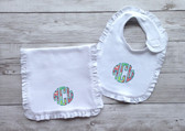 Lilly Pulitzer Monogrammed Ruffle Bib & Burp Cloth Set www.tinytulip.com Checking in Blue Fabric with Turquoise Thread