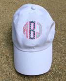 Monogrammed Applique Vineyard Vines Baseball Hat www.tinytulip.com Multi Fabric Whales with Preppy Pink Thread