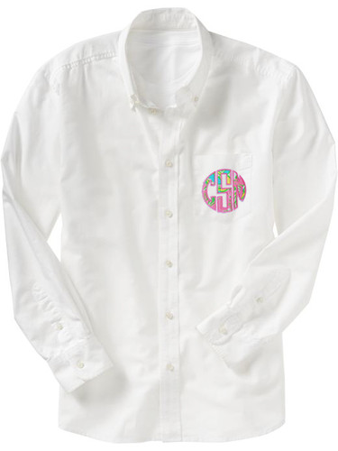 Monogrammed Lilly Pulitzer Oversized Bridesmaid Oxford Shirt www.tinytulip.com