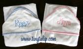 Monogrammed Seersucker Stripe Trim Hooded Towel  www.tinytulip.com Flirty Font