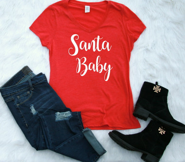 Ladies V-neck Red Graphic Tee Santa Baby www.tinytulip.com