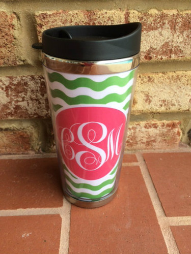 Monogrammed Coffee Cup  www.tinytulip.com Kelly Green Waves Pattern with Solid Circle Hot Pink Emma Script Font
