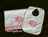 Gift Set - Monogrammed Bib and Burp Cloth  www.tinytulip.com