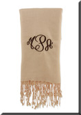 Monogrammed Pashmina Scarf  www.tinytulip.com Ivory Cream Scarf with Chocolate Brown Empire Monogram