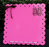 Large Pink Scallop Board with Brown Interlocking Font