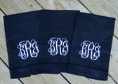 Monogrammed Linen Hemstitch Guest Towel   www.tinytulip.com Black Towel with White Interlocking Font
