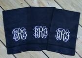 Monogrammed Linen Hemstitch Guest Towel   www.tinytulip.com Black Towel with White Interlocking Font