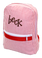 Seersucker Backpack Monogrammed ~ Tiny Tulip Red Seersucker with Brown Flirty Font