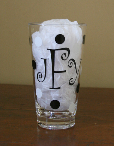 Black Curly Font with White Second Polka Dot Color