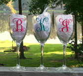 Monogrammed Acrylic Wine Glass Single Initial Interlocking Font, Hot Pink & Teal