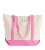 Heavy Duty Canvas Tote in Pink Lime Green Curly Font