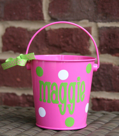 Pink Bucket with Lime Green Chachie Font  White is the second polka dot color